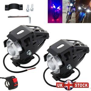 2X-125W-U5-U7-Motorcycle-Motorbike-Headlight-LED-Fog-Spot-Lights-Bulb-amp-Switch
