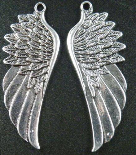 4pcs Silver Tone Wings Charms 58x22x2.5mm 15892 9672
