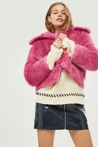 BNWT-Topshop-Raspberry-Pink-Claire-Luxe-Faux-Fur-Jacket-Coat-Size-8
