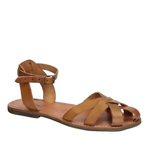 Handmade-franciscan-close-sandals-shoes-for-Women-tan-real-leather-Made-in-Italy