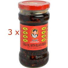 3 Bottle Lao Gan Ma Hot Black Bean Chili Oil Sauce 老干媽風味豆豉  ( 9.88 oz each )