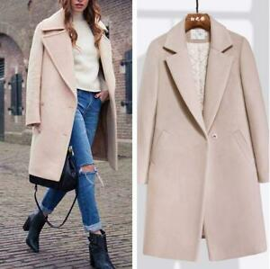 News Blend Womens Slim Camel Trench Coat parka Tailored Collar Long Jacket