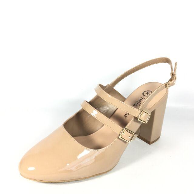 04d5f878a4 Bella Vita Nessa II Women's Size 9.5 W Nude Patent Heel Slingback Dress  Shoes.