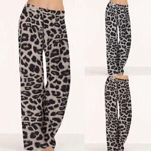 Belle Femme Pantalon Bandes Taille élastiques Imprimé Léopard Ample Loose Plus