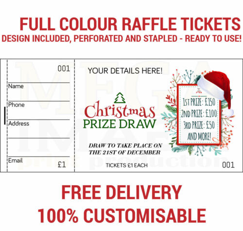 500 PRINTED PERSONALISED RAFFLE PRIZE DRAW TICKETS