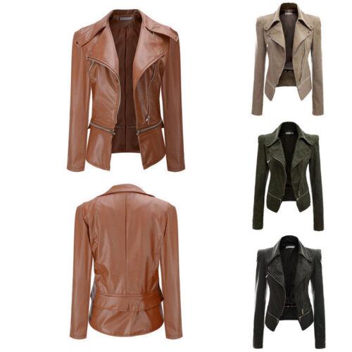 Women Winter Warm Faux Leather Jacket Parka Overcoat Outwear Collar Short Coat