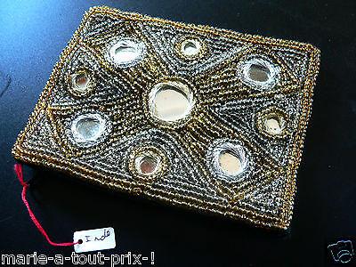 grand porte monnaie doré perles or /'commerce équitable/' Inde doublé sequins RARE