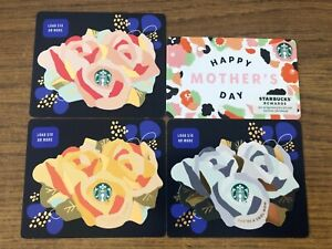 4 NEW STARBUCKS 2021 MOTHERS DAY GIFT CARDS LOT DIE CUT
