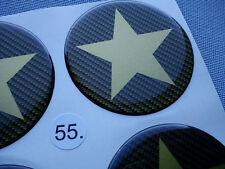 (stern 5/55CG) 4x Carbon Lock Embleme für Nabenkappen Felgendeckel 55mm Silikon