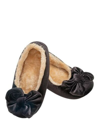 Victorian Trading Co Black VELVET BALLET Moccasin Slippers w// Bow LG