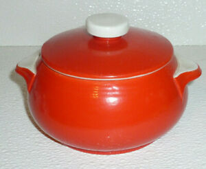 Hall-Drip-Jar-CHINESE-RED-Vtg-Mid-Century-With-Lid
