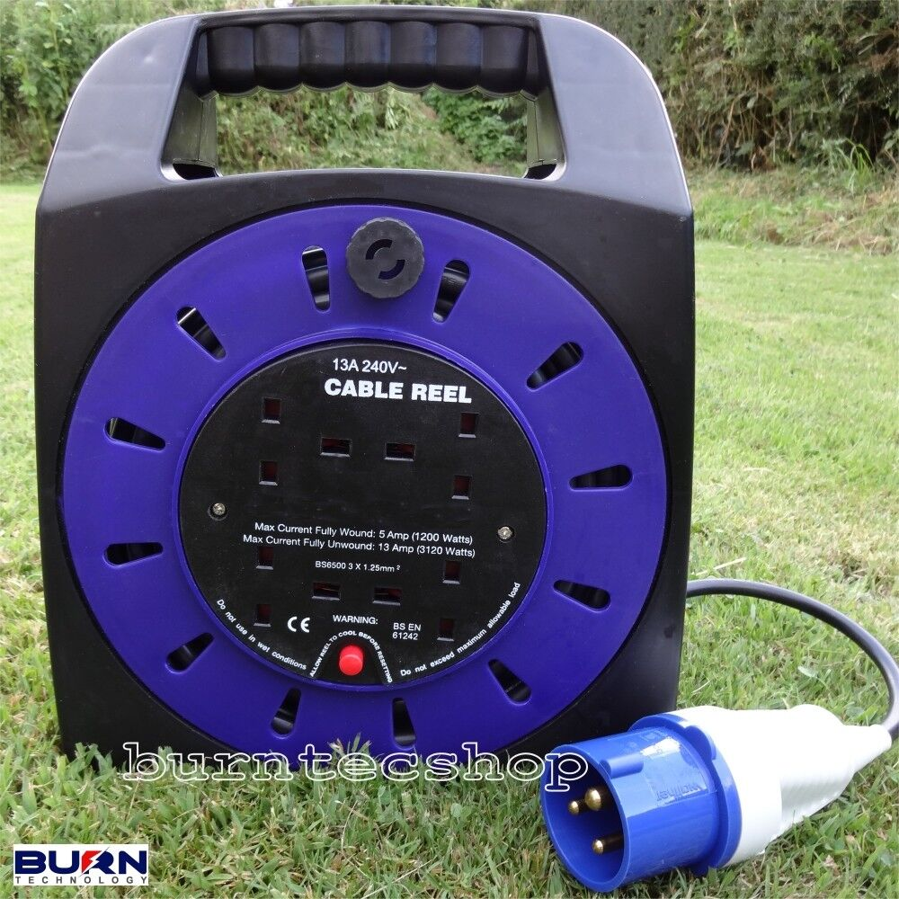 Caravan Camping Electric Mains EHU Hook Up Reel EHU Mains 15 20 25 Metre Extension 92491e