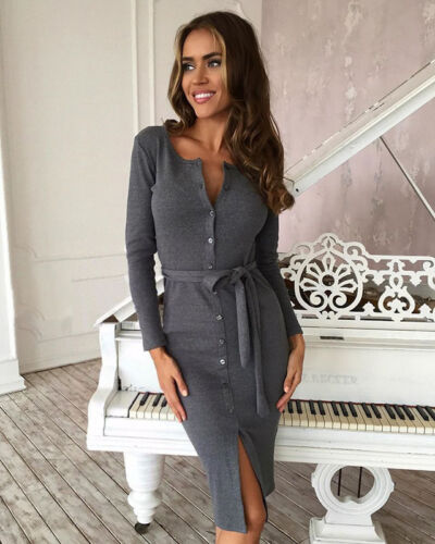 Women Summer Long Sleeve Casual Evening Party Cocktail Bodycon Short Mini Dress