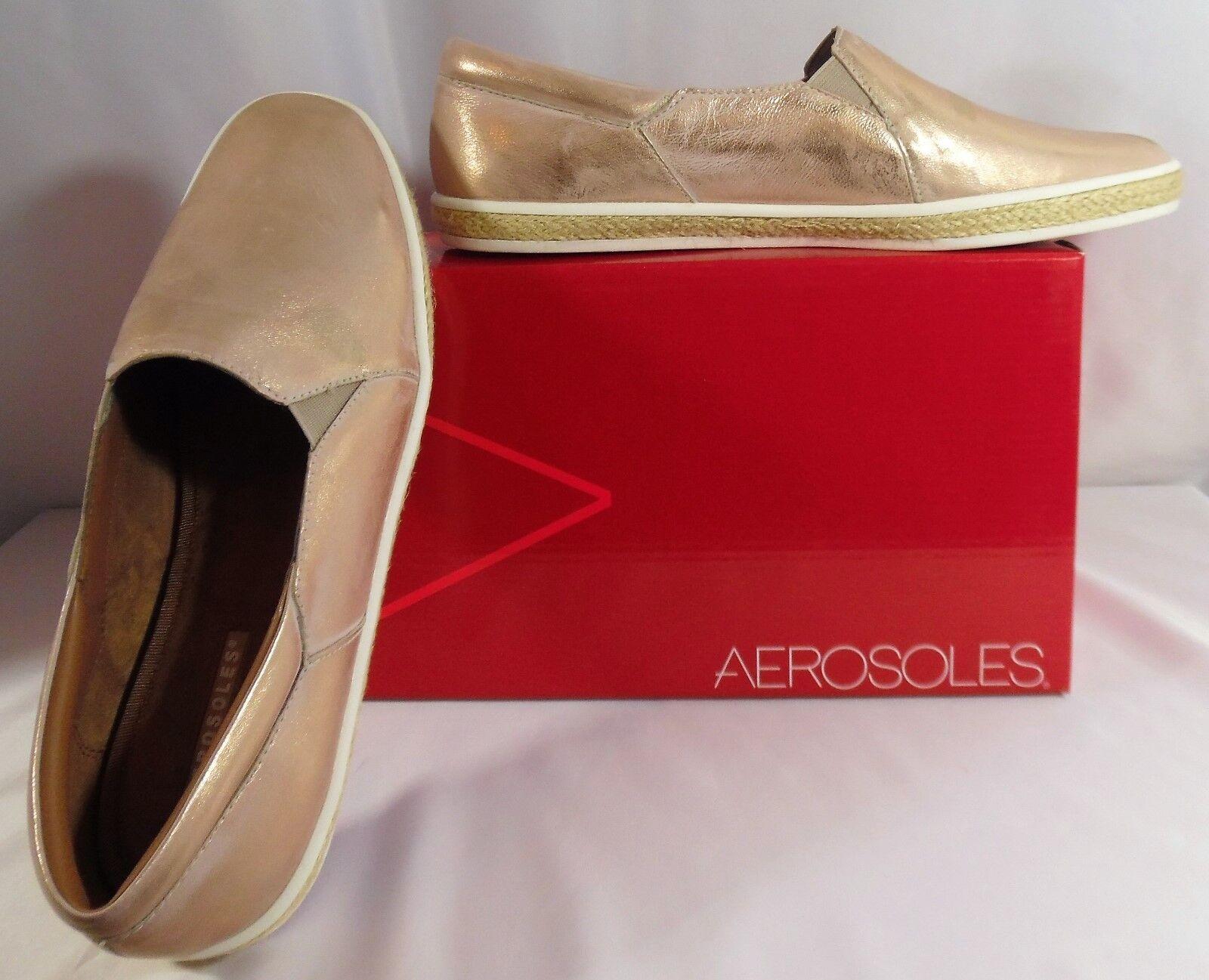 Aerosoles Women's Fun Fact Fashion Sneakers 9-1 2 M Bronze Leather Flats 9.5 B