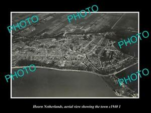 OLD-LARGE-HISTORIC-PHOTO-HOORN-NETHERLANDS-HOLLAND-TOWN-AERIAL-VIEW-c1940-2