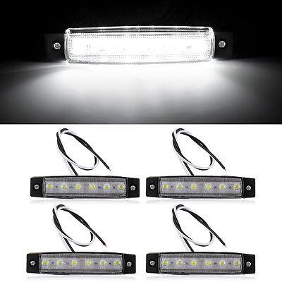 4x 6-LED Car Truck Boat Trailer Side Marker Indicator Tail Lights Lamp White 12V