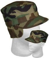 Woodland Camouflage Usgi Cold Weather Combat Cap Hat W/ Earflaps Made In Usa