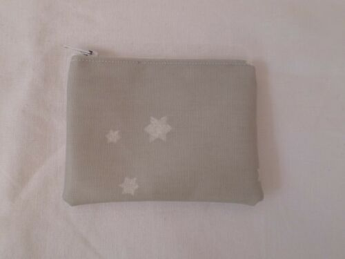 HANDMADE OILCLOTH MINI COIN PURSE GREY TWINKLE TWINKLE STAR FABRIC