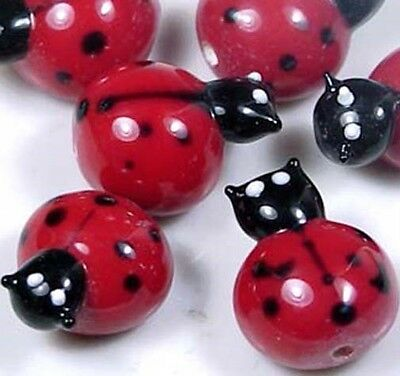 Lampwork Handmade Glass  Ladybug Beads 18x15mm (6)