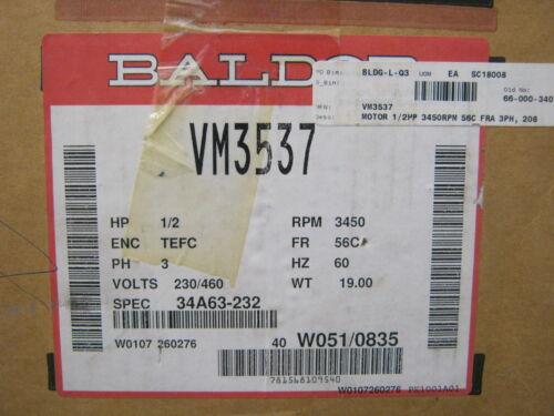 BALDOR MOTORS VM3537 1//2HP 3450RPM THREE PHASE