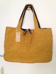 Details About Emme Dark Yellow Tote Bag Genuine Weaved Leather Bnwt