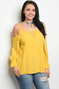 Women-039-s-Plus-Size-Yellow-Cold-Shoulder-Lace-Accent-Long-Sleeve-Top-3XL-NWT