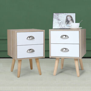 1/2 PCS Wooden Nightstand End Table With 2 Drawers Living Room Furniture 2 Color