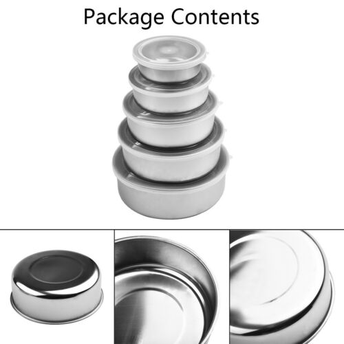 Details about  /5pcs Small Extra Large Mixing Stainless Steel Food Storage Bowls With 5 Lids Set