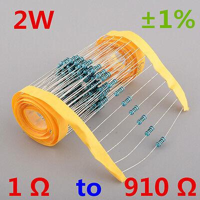 New!! 2W Watt Metal Film Resistor ±1% 1 Ω to 910 Ω Ohm