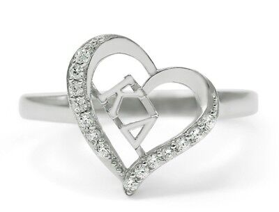 Sterling silver Kappa Delta heart ring with cubic zirconia, NEW!!