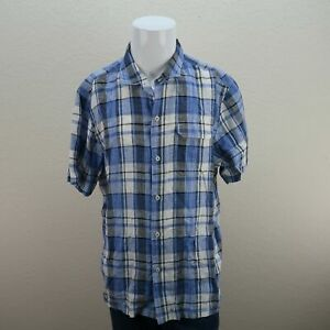 Tommy-Bahama-Blue-White-Short-Sleeve-Island-Modern-Fit-Plaid-Shirt-Mens-XL