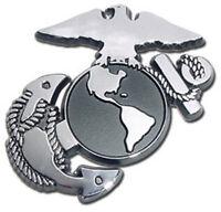 Marine Corps Chrome Metal Auto Emblem: USMC Military United States Car Decal MVP