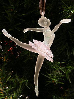 kurt s adler clear pink frosted acrylic ballerina ballet dancer xmas ornament
