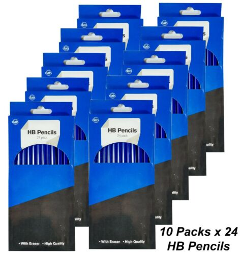10 x 24 Packs HB Lead Pencils with Erasers Blue Plastic Barrel Durable