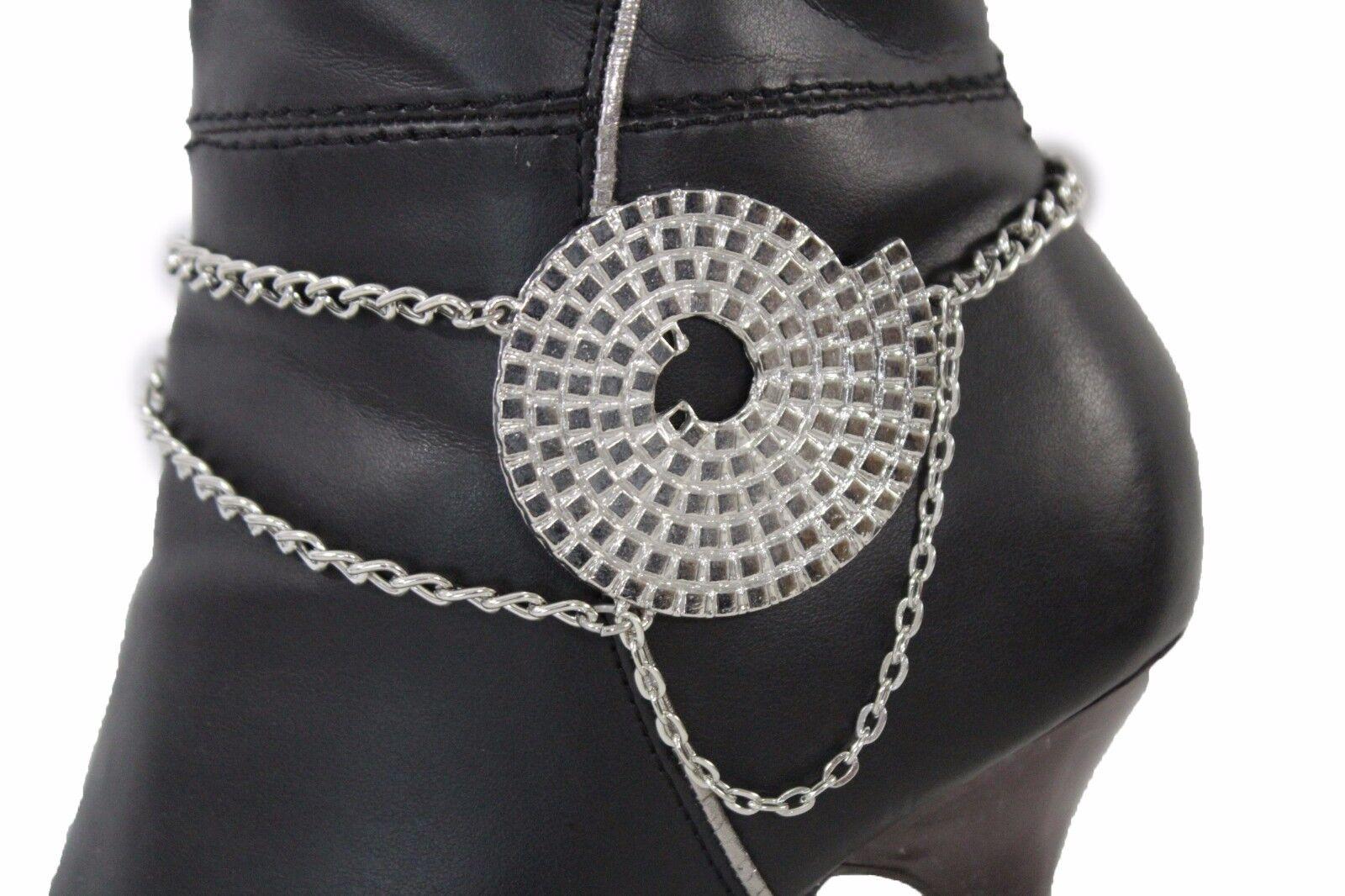 New Women Boot Bracelet Silver Metal Chain Anklet Fashion Shoe Swirl Charm Bling