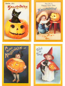 Halloween-Postcards-Lot-Set-of-12-Black-Cat-Witch-Pumpkin-Girl-4-Different-Style