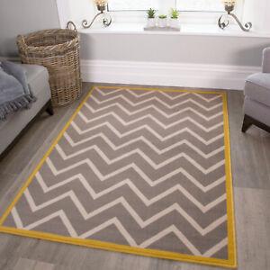 Gray Ochre Yellow Rugs Ochre Zigzag Area Rug Large Rugs For Living Room Ebay