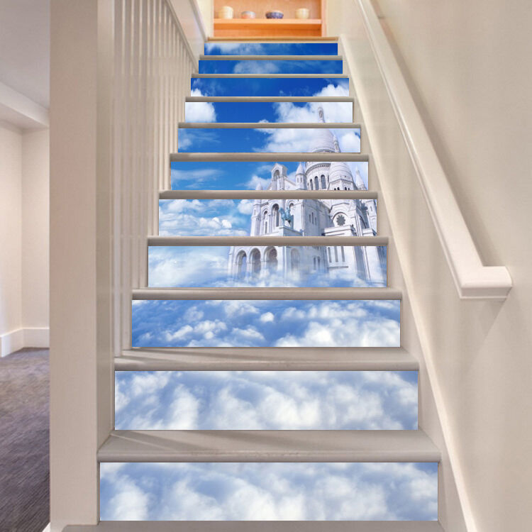 3D Could Castle 5 Stair Risers Decoration Photo Mural Vinyl Decal Wallpaper UK