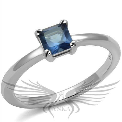 Brilliant 0.66ct Cushion Cut Blue Stone Engagement Ring 5 6 7 8 9 TK2979