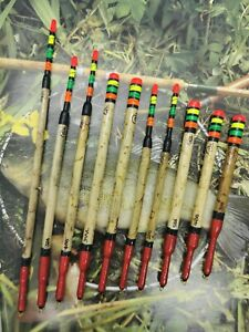 X10-Assorted-Handmade-Scorched-Reed-Waggler-Floats-Vintage-Traditional-Carp