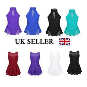 UK-Kids-Girls-Sequied-Ballet-Dance-Tutu-Dress-Skating-Leotard-Dancewear-Costumes