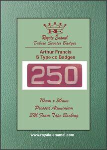 """Pressed Aluminium AF """"S Type"""" 250cc Replica Badge Arthur Francis Lambretta"""