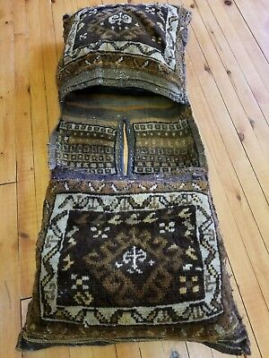 "Antiques Natural Dye Donkey Bag Candid Primitive 1930-1940's Antique 1'7×3'6"" Wool Pile"