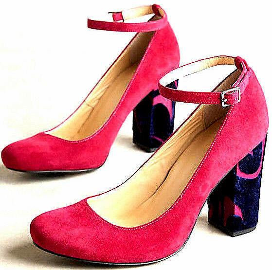 NEW NIB 8 ANTHROPOLOGIE BRIGHT PINK SUEDE TESSA ANKLE STRAP PUMPS HEELS 6 36