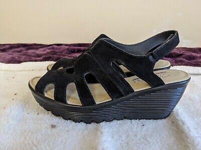 open toe black leather slingback Velcro