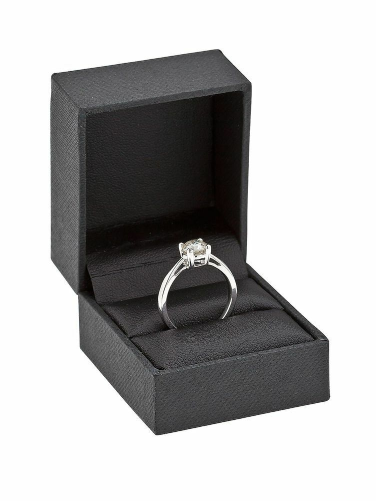 Solitaire engagement ring (4 claw) White gold 18K with natural 0.25 carat