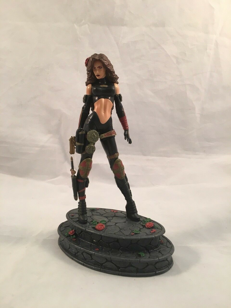 Female Woman Action Figure with gun and knife 6  Action Figurine on pinks Stand