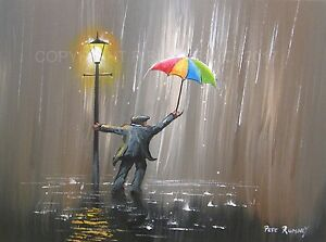 PETE-RUMNEY-FINE-ART-BUY-ORIGINAL-PAINTING-CANVAS-WALL-PICTURE-UMBRELLA-RAIN