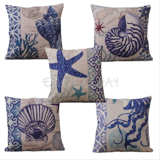 Home Decor Cotton Linen Pillow Case Square Sofa Waist Throw Cushion Ocean Cover
