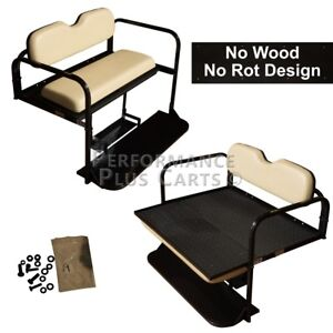 Club-Car-Precedent-Golf-Cart-Flip-Folding-Rear-Back-Seat-Kit-Buff-Cushions